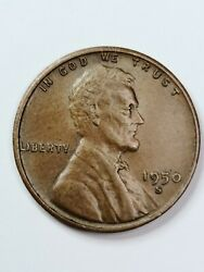 1950 S Lincoln Wheat One Cent Copper Penny 1¢. San Francisco Mint. 1950-s