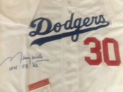 Maury Wills Signed Los Angeles Dodgers Home Jersey Inscribed 104 Sb And03962 With Coa