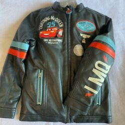 Lightning Mcqueen 95 Racing Disney Boys Faux Leather Bomber Jacket Gray 7/8 New