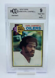 1979 Topps Earl Campbell Rc Houston Oilers 390 Football Card Bccg 9 Mint
