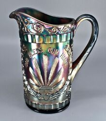 Antique Dugan God And Home Water Pitcher Carnival Glass - Amethyst Electric Blue