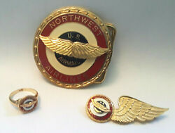 10k Northwest Airlines Airmail Ring Pilot Wings Pin Belt Buckle Rare Set
