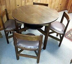 Antique Mission Arts And Crafts Oak 38 Round Table With 4 Fitted Triangle Chairs
