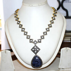 925 Silver Necklace Rose Cut Diamond Necklace Carved Sapphire Necklace Jewelry
