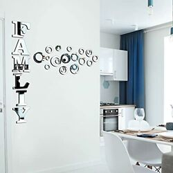 28 Pieces Family Sign Letters Acrylic Decorative Mirror Wall Stickers 3D Wall...