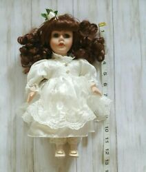 Collectors Choice Dandee Porcelain Doll 12 With Stand No Coa Vintage Smoke Free