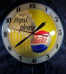 Very Nice Vintage Say Pepsi Please Lighted Double Bubble Clock Working Great