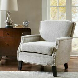 Durable Grey Accent Chair Matte Silver Nailheads Solid Wood Frame And Legs Luxury