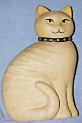 Charming Old YELLOW TABBY CAT Porcelain Statue Folk Art Style Ginger Wicca