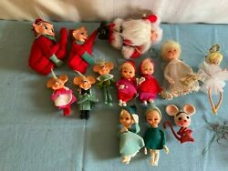 Vintage Pixie Elf And Santaangel And More Xmas Ornaments Assorted Lot Of 28