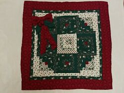 Machine Quilted Log Cabin Christmas Wreath Wall Hanging Farmhouse Banister 30