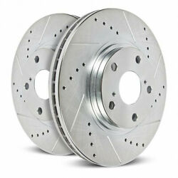 Power Stop Brake Rotors For Toyota Tundra 2000-2006 Front Drilled And Slotted Pair