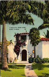 Vtg 1930's Beautiful Residential Home House In Miami Florida Fl Postcard G9271