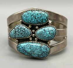 Phenomenal Webbed Turquoise And Sterling Silver Bracelet