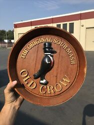 1960s Vintage Old Crow Bourbon American Whiskey Sign Barrel Wall Ad Display
