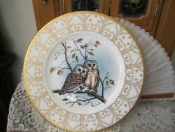 Edward Marshall Boehm Owl Plate Collection Saw-whet Owl Bone China Made In Usa