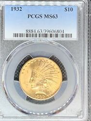 1932 10 Indian Head Gold Eagle Ms63 Pcgs