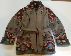 Vintage Country Belted Cardigan Native Horses Size M