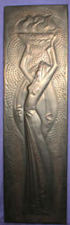 Large Russian Moscow 1980 Olympic Games Wall Decor Metal Plaque Woman Carry Fire