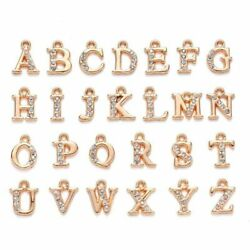 26 A-z Letter Gold Alloy Crystal Rhinestone Charms Alphabet Jewelry Making Chain