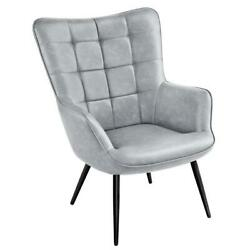 Design Faux Leather Wingback Accent Chair Gray Contemporary Mid-century Modern