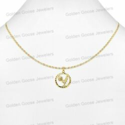 Real 14kt Yellow Gold Unisex Dc Rooster Bird Charm Pendant Valentino Free Chain
