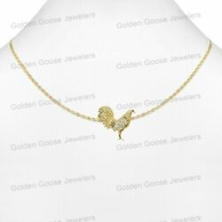 Real 14kt Yellow Gold Unisex Cz Rooster Bird Charm Pendant Valentino Free Chain