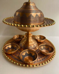 Copper Serveware   Service Set With Tray And 6 Bowls
