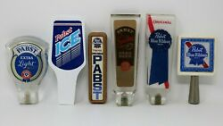 Pabst Blue Ribbon Beer Tap Handle Lot Of 6 Vintage Pabst Light Dark Ice