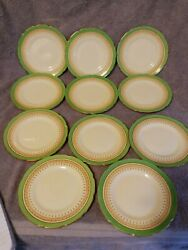 11-royal Doulton Duke Of York Green Bread Plates England 1938 Numbered