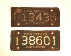Vintage 1954 Illinois Reciprocity License Plate Tag Set Of Two Rare