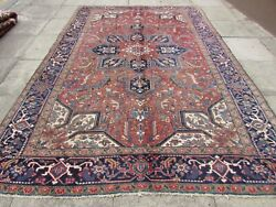 Antique Traditional Hand Made Vintage Oriental Wool Red Blue Carpet 337x227cm
