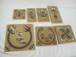 Vintage Sand Paintings 7 Native American Dancing Rainbow Beauty- Signed