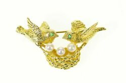 18k Pearl Egg Love Birds Nest Retro 1960and039s Pin/brooch Yellow Gold 29
