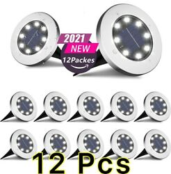12pack Solar In Ground Lights Outdoor Buried Lamp Disk Led Lawn Pathway Garden