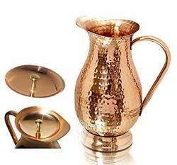 Copper Pitcher With A Lid - Pure Solid Copper Handcrafted Hammered Jug Capacity