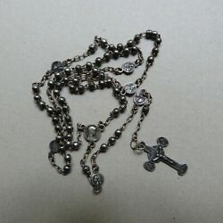 French Antique Sterling Silver .925 Religious Rosary Crucifix Hallmarked
