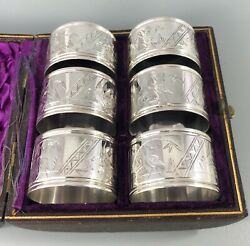 Victorian Silver Plated Aesthetic Movement Napkin Rings Numbered C1870 Hezx