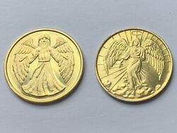 Lot Of 2 Gold Tone Guardian Angel Double Sided Good Luck Token Coins