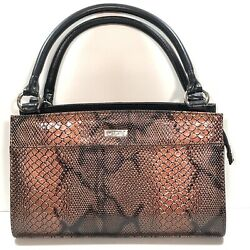 Miche Black Classic Base Bag Rolled Handles And 1 Shell Cover Copper Snakeskin