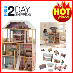 Charlotte Classic Wooden Dollhouse With Ez Kraft Assembly Kidkraft 14-piece Acce