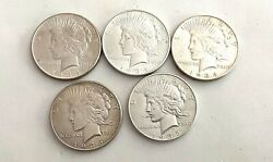 5- High End U.s. Silver Peace Dollars 1934-p,1934-s, 1934-d, 1935, 1935-s