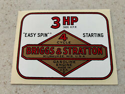 Nos Vintage Briggs And Stratton 4 Cycle Water Transfer 3 Hp Engine Decal Sticker