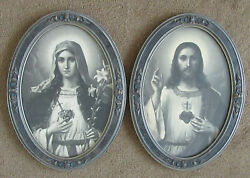 Antique Jesus And Mary Sacred Heart Chalkware Framed Pictures Approx 23x16.75