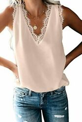 Dressy Popular Summer Lace Trim Sleeveless Cami Tank Tops Womenand039s Work Casual