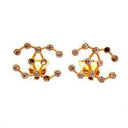 Authentic Vintage Clip On Earrings Cc Logo Double C Rhinestone Af002