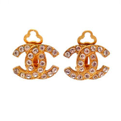 Authentic Vintage Clip On Earrings Cc Logo Double C Rhinestone Af001