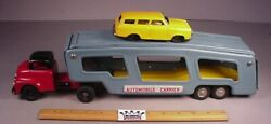Vintage 1950and039s Tin Friction Toy Car Hauler Auto Transport Truck 17 Metal Japan