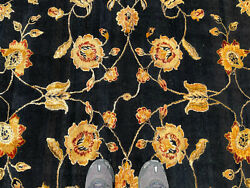 9x12 Black Handmade Rug Wool And Silk Hand-knotted Chinese Oriental Fine Carpet
