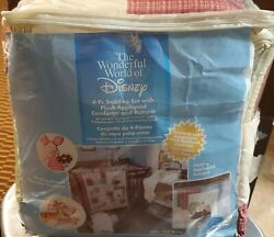 Winnie The Pooh 4 Piece Baby Bed Crib Bedding Set Red Green